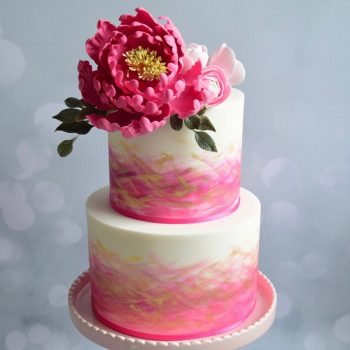 Two-tier wedding cake with iced flowers - Colour Pop Cakes