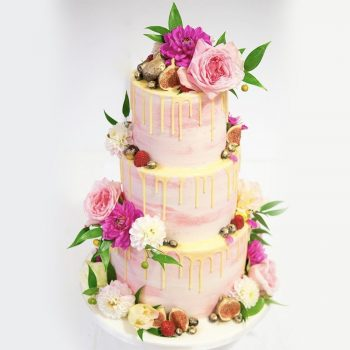 Three-tier wedding cake with fresh flowers and figs - Colour Pop Cakes