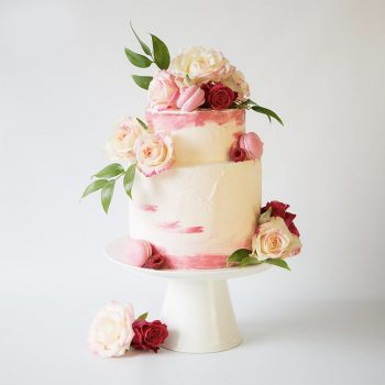Pink wedding cake with flowers - Colour Pop Cakes