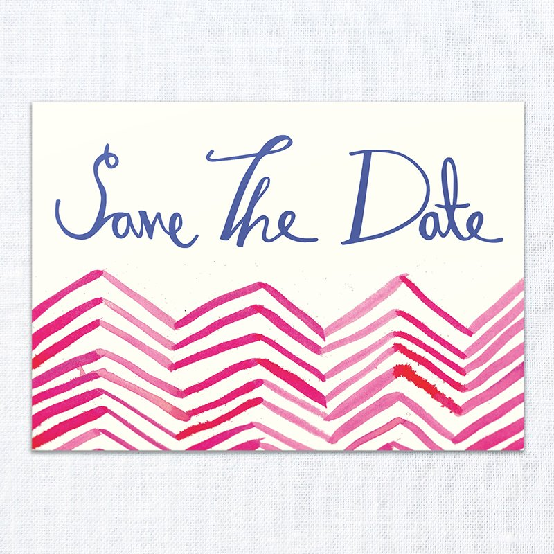 It's a date - Colourful Chevron save the date