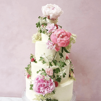 Five-tier wedding cake with peonies and roses - Colour Pop Cakes
