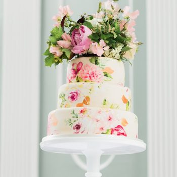 Hand-painted Cambridge wedding cake - Colour Pop Cakes
