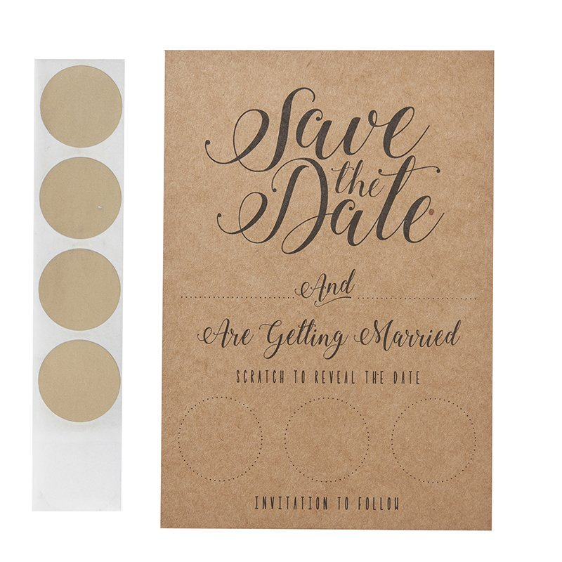 It's a date - Kraft scratch and save the date cards