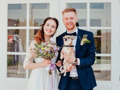 beautiful enamored couple – bride and groom on wedding day in su