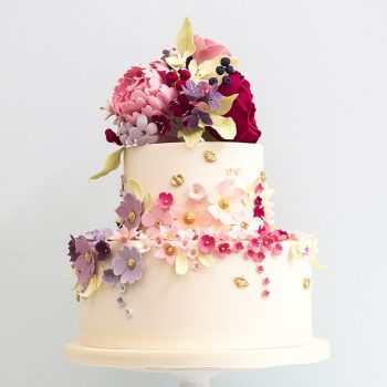 Wedding cake with perfectly iced florals - Colour Pop Cakes