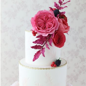 Wedding cake with Roses, berries and ruffles - Colour Pop Cakes