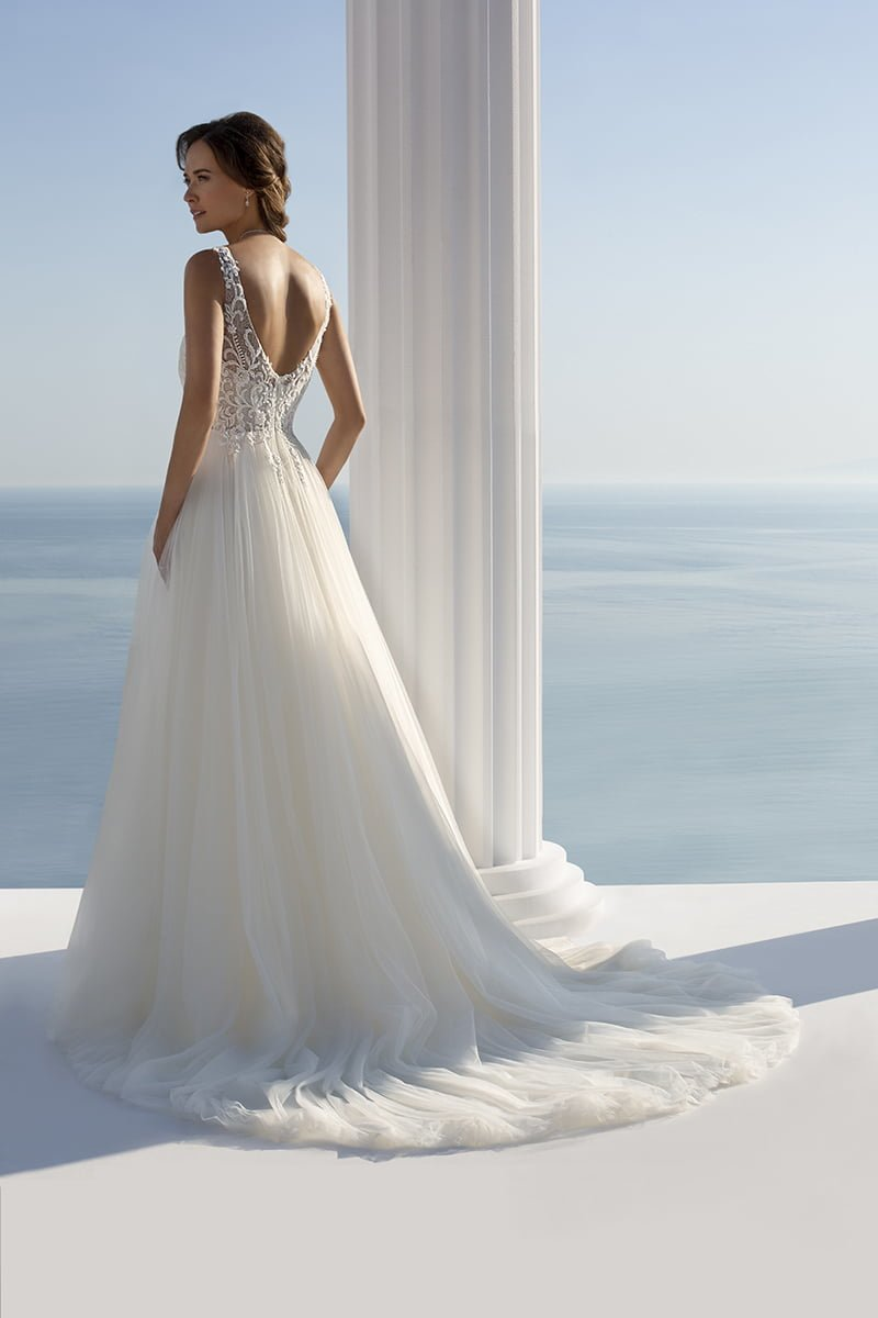 Seaside Treasures - Ivory A-line dress with beaded lace top and soft tulle skirt, Style 7310, £poa, Mark Lesley Bridalwear
