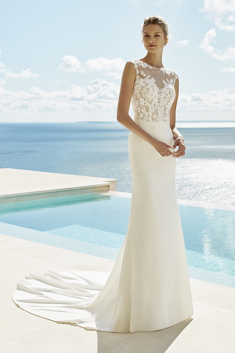 destination wedding dresses Glory crepe and beaded lace sheath dress with bateau neckline, £1,430, Aire Barcelona