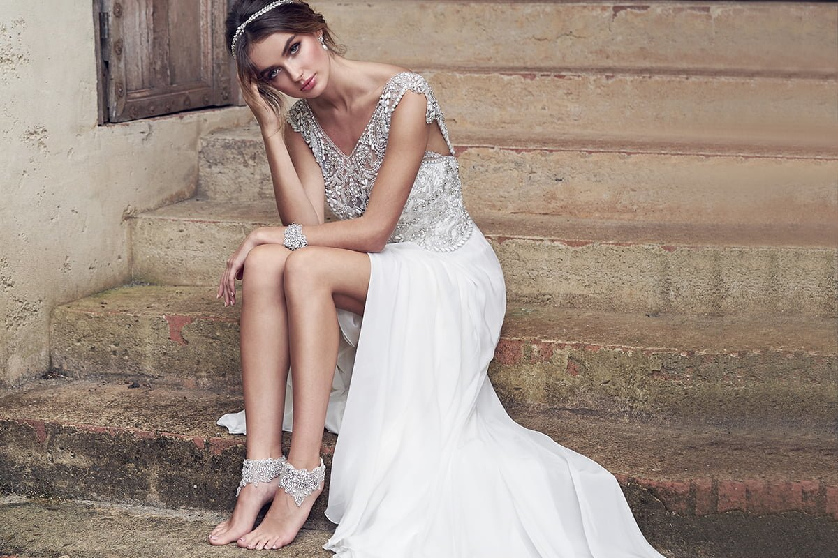Hand-beaded Aria silk gown with ivory and silver embellishment, approx £2,390, Anna Campbell Bridal - Time to Sparkle