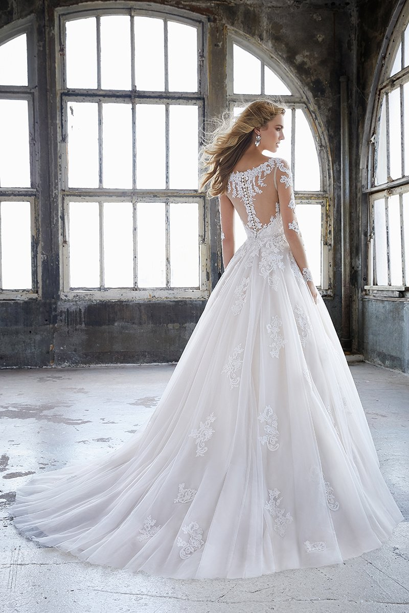 glamorous wedding dresses Long-sleeved Katherine dress with Alencon lace and tulle ballgown skirt, Style 8225, £1,650, Mori Lee