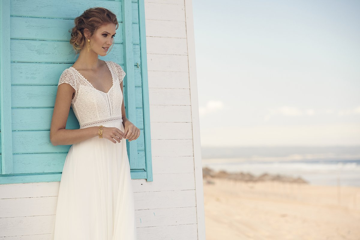Seaside Treasures - Honey dress with crepe, tulle and chiffon skirt and lace cap-sleeved top, £1,520, Rembo Styling