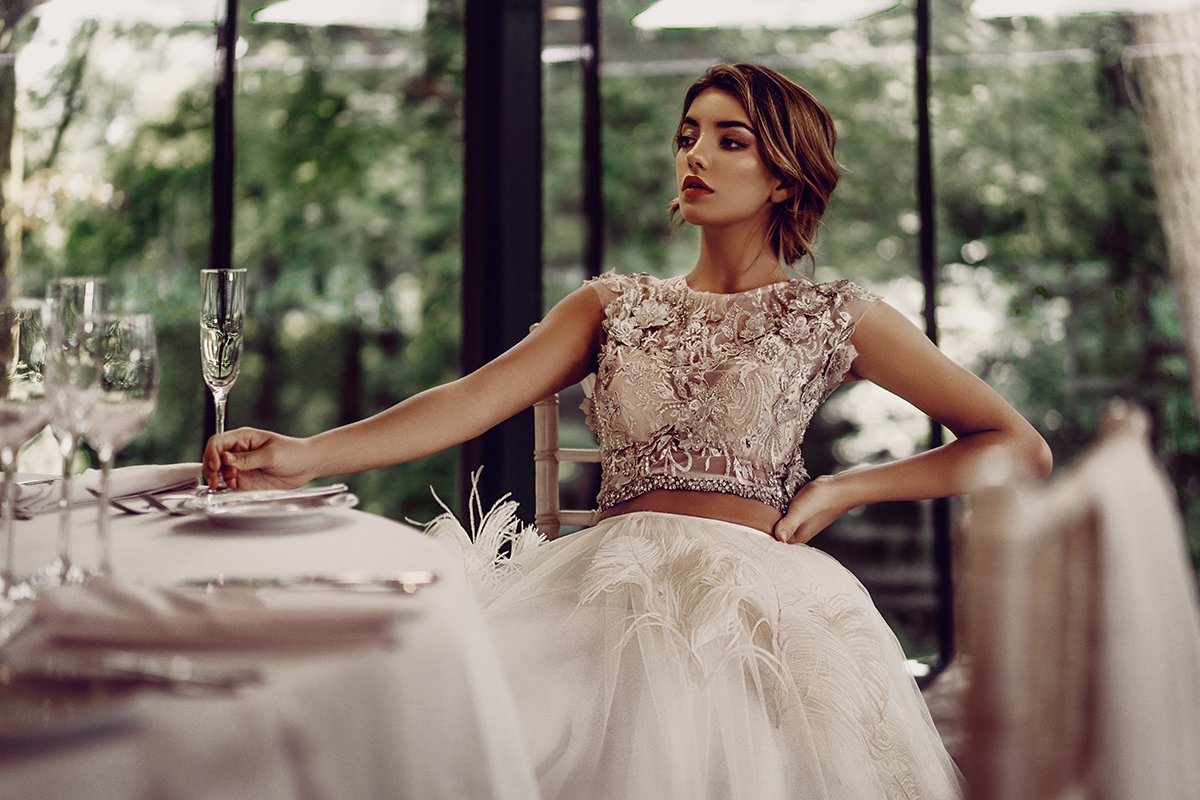 glamorous wedding dresses Handmade embellished Nevada top, £1,180; full circle maribou feather Vegas skirt, £3,000; both Stephanie Allin - Time to Sparkle