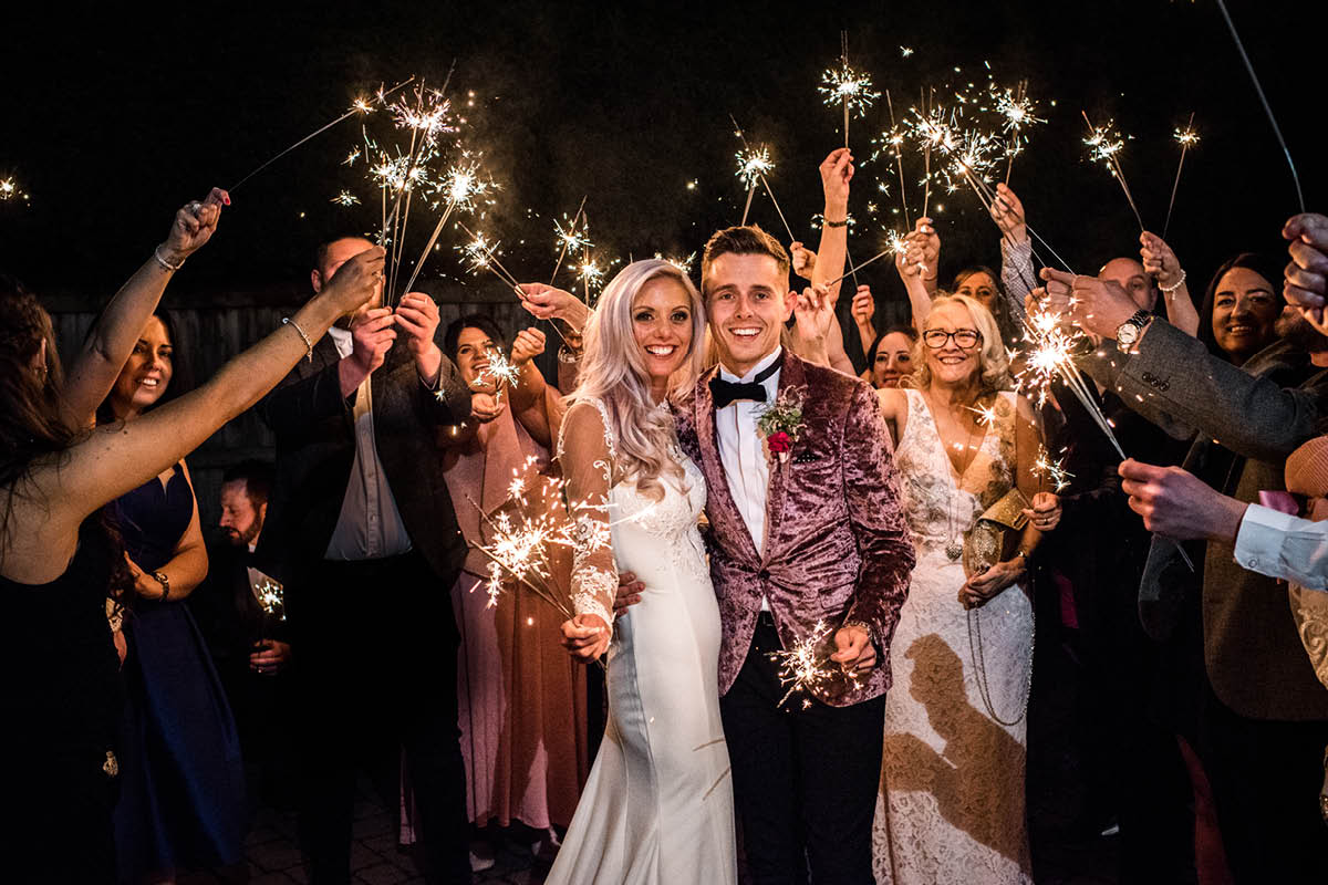 Rookery Hall Hotel couple sparklers