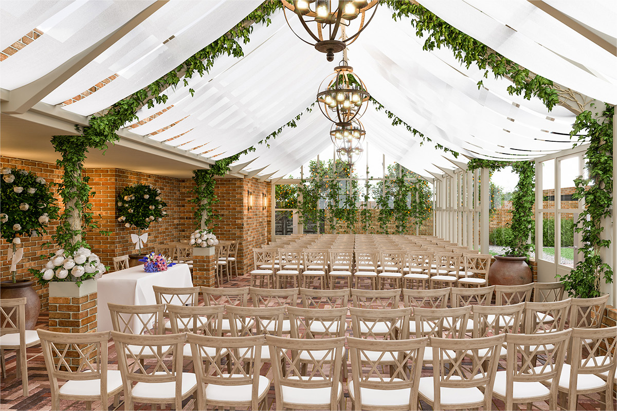 Wedding ceremony set-up at Syrencot, Wiltshire