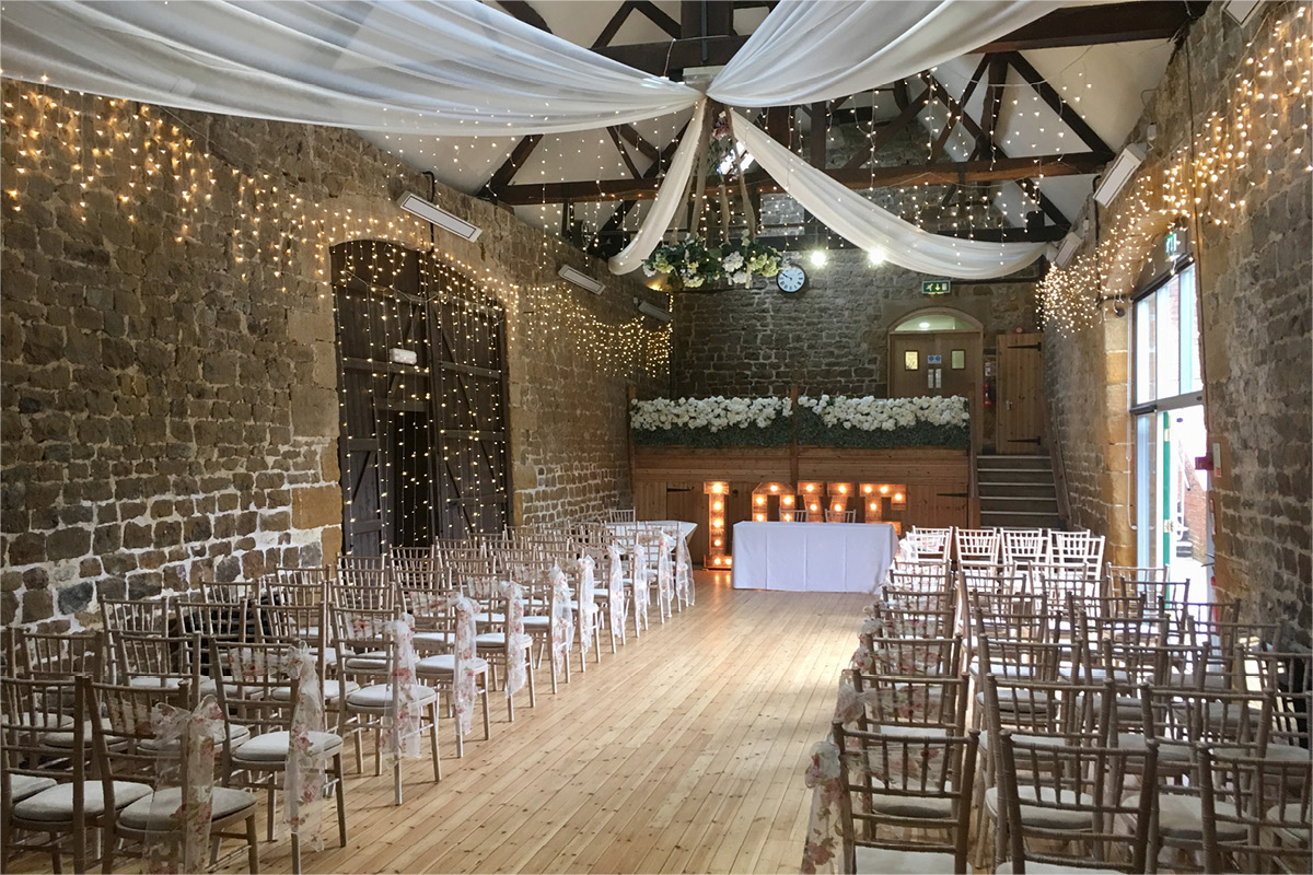 The Barns at Hunsbury Hill Mezzanine wedding ceremony