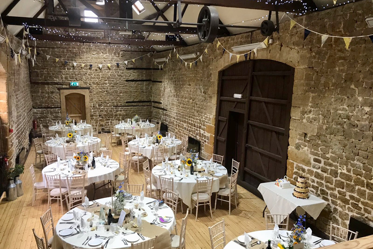 The Barns at Hunsbury Hill wedding setup