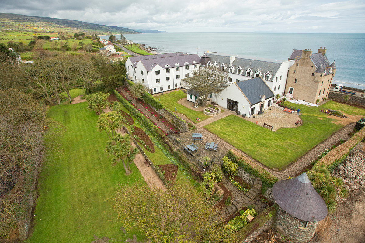 Ballygally Castle aerial view