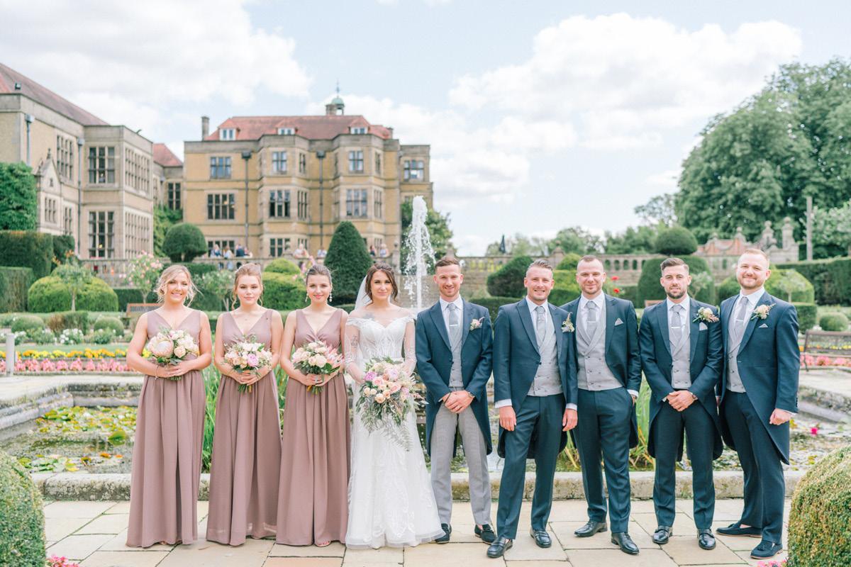 Fanhams Hall wedding party