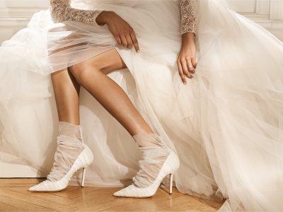 Ivory satin pumps with tulle overlay Jimmy Choo