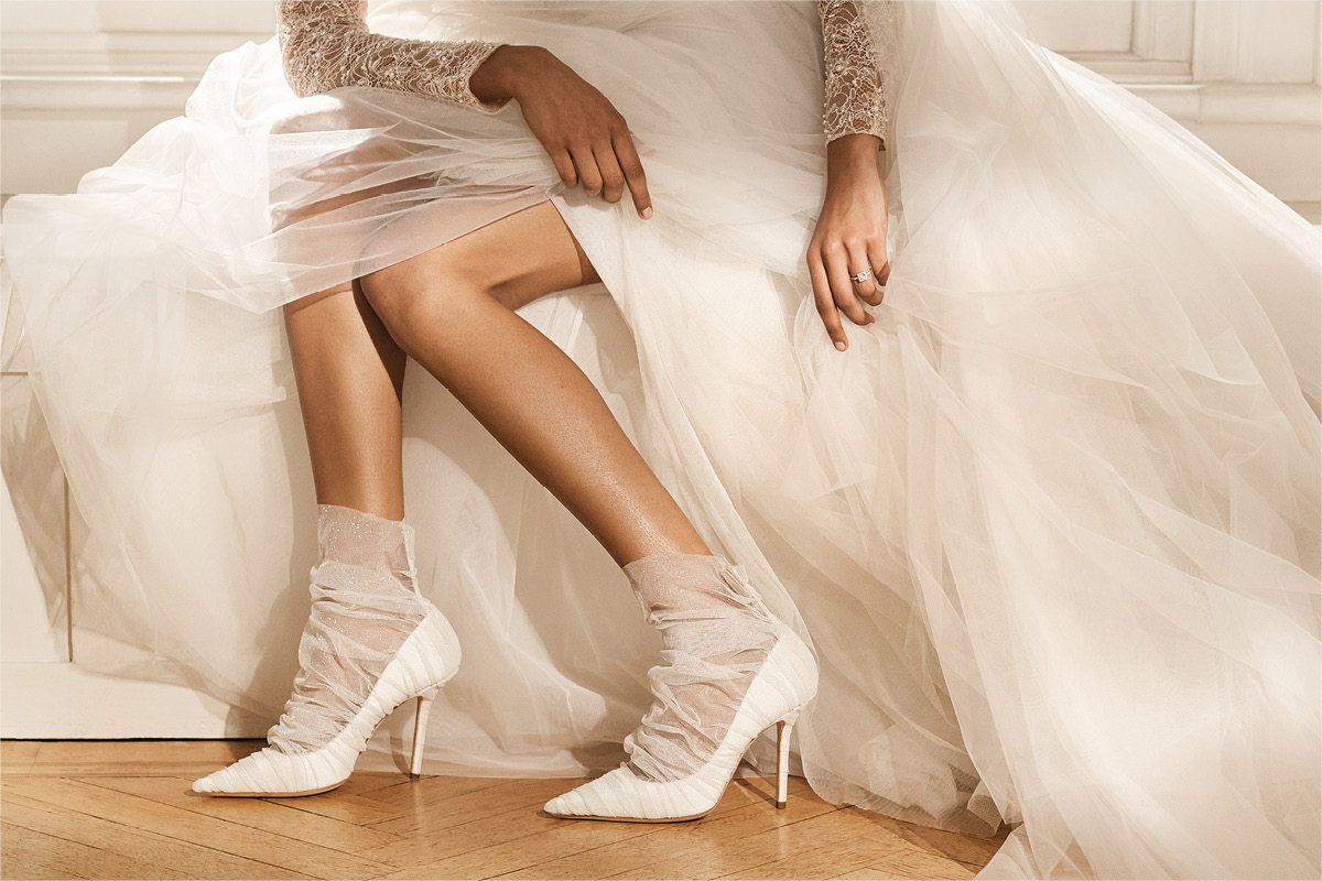 Bridal shoes Ivory satin pumps with tulle overlay Jimmy Choo