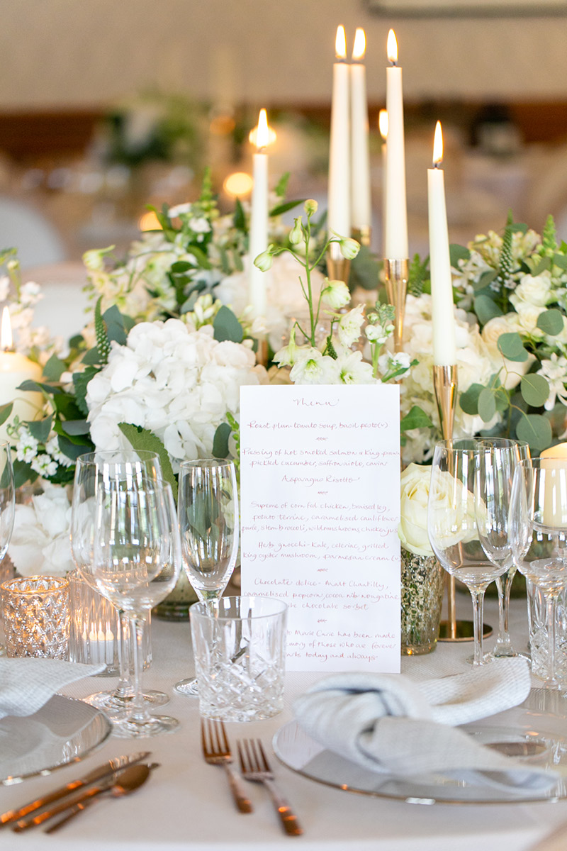 Pennyhill Park wedding menu