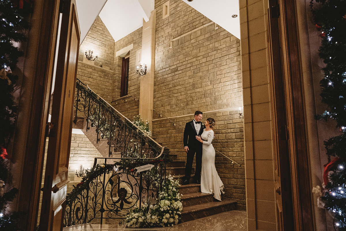 South Lodge staircase wedding
